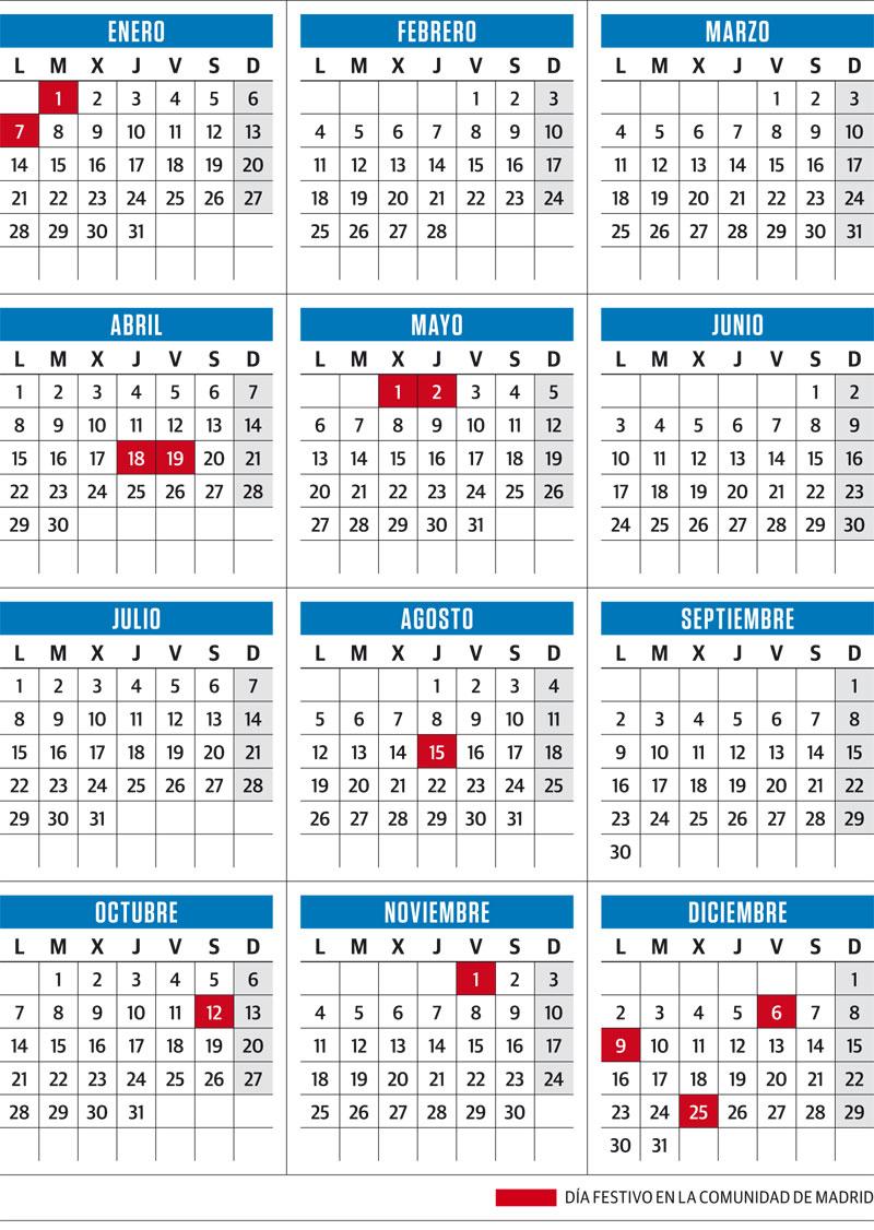 Calendario Laboral 2019 Ciudad Real.El 7 De Enero Y El 9 De Diciembre Seran Festivos En La Comunidad En 2019